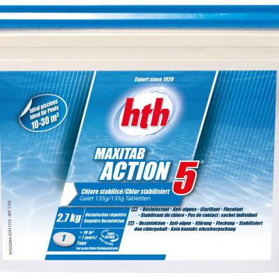 HTH MAXI TAB ACTION 5 135G 2.7KG TRAITEMENT CHLORE